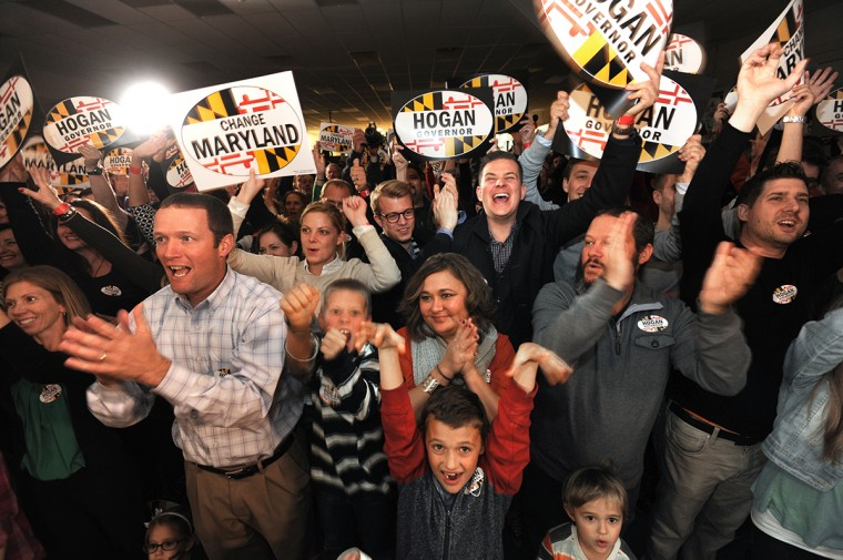 11/2/14: At Patapsco Arena, supporters cheer at a rally for Larry Hogan, the GOP nominee for governor, headlined by New Jersey Governor Chris Christie. (Algerina Perna/Baltimore Sun)