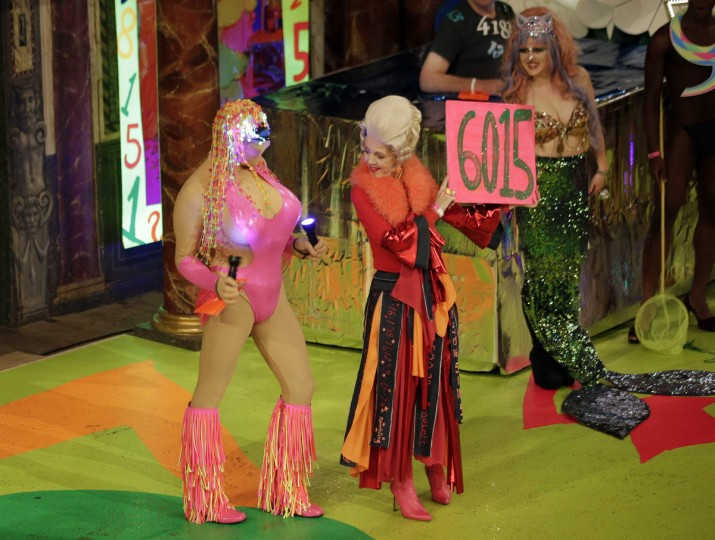 A contestant takes part in the swimwear portion of the Alternative Miss World contest at Shakespeare's Globe theatre in London. The competition, which is open to entrants of any gender or nationality, was started by artist Andrew Logan in 1972. (Peter Nicholls/Reuters)