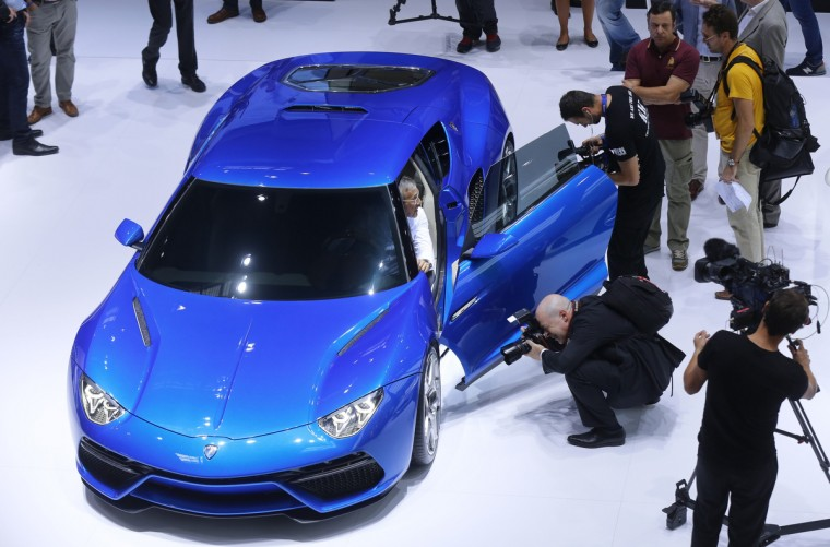 A Lamborghini Doppia Frizione car is displayed on media day at the Paris Mondial de l'Automobile, October 2, 2014. The Paris auto show opens its doors to the public from October 4 to October 19. Jacky Naegelen/Reuters photo