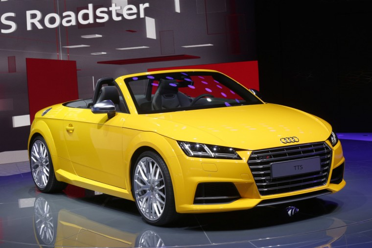 An Audi TTS Roadster car is displayed on media day at the Paris Mondial de l'Automobile, October 2, 2014. The Paris auto show opens its doors to the public from October 4 to October 19. Jacky Naegelen/Reuters photo