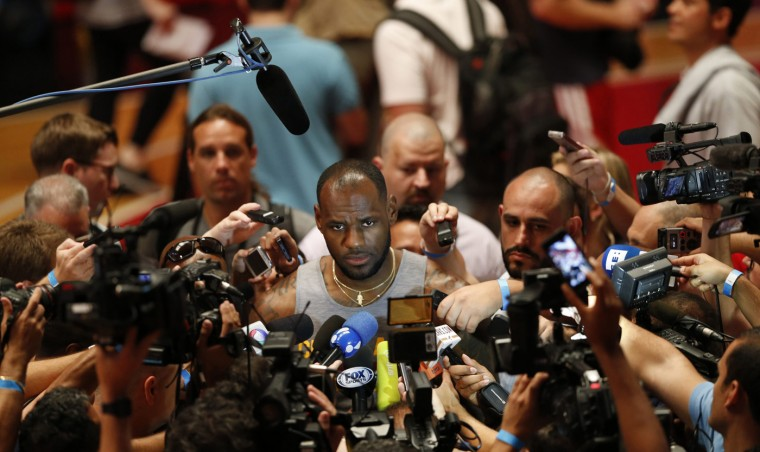 Cleveland Cavaliers forward LeBron James talks to the media before practice ahead of the NBA Global Games Rio 2014 in Rio de Janeiro October 9, 2014. The Cavaliers will face the Miami Heat on Saturday night. (Sergio Moraes/Reuters)