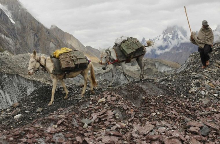 A local farmer drives his mules down the rock-covered Baltoro glacier near Urdokas along the K2 base camp trek in the Karakoram mountain range in Pakistan September 2, 2014. (Wolfgang Rattay/Reuters)