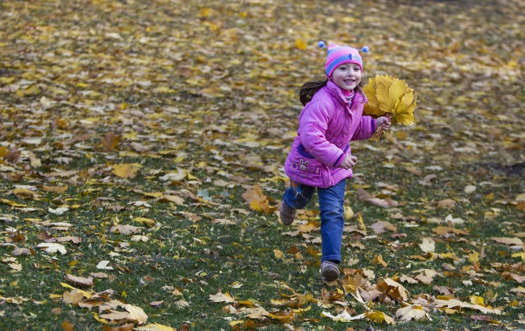 A girl runs with collected autumn leaves at a park in Donetsk, eastern Ukraine, October 17, 2014. (Shamil Zhumatov /Reuters)