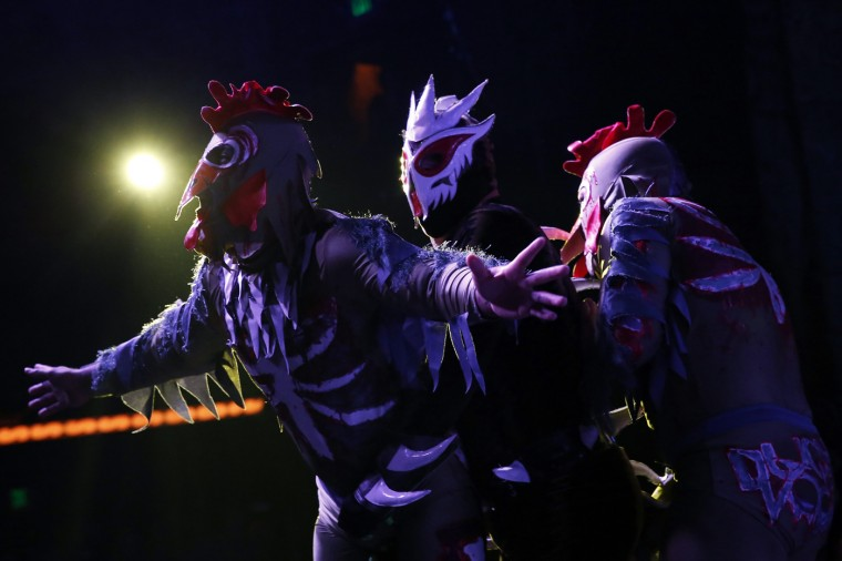 "Lucha libre wrestlers Zombie Chickens wrestle against Chupacabra (C) during the Lucha VaVoom ""Night of the Vampire"" performance in Los Angeles, California October 29, 2014. REUTERS/Patrick T. Fallon"