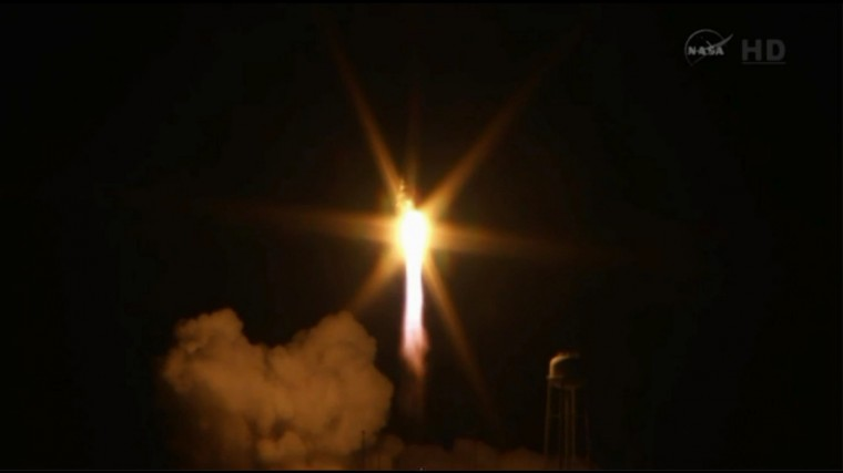 The Orbital Sciences Corp.'s Antares rocket and Cygnus cargo spacecraft explodes after launch at Wallops Island, VA at 6:22 p.m. ET. It was set to carry some 5,000 pounds of supplies and experiments to the International Space Station. (NASA-TV)