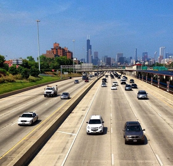 Looking over the Dan Ryan Expressway toward downtown from Chicago's South Side on August 18, 2014.