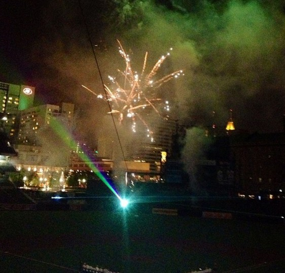 The Orioles celebrated their 60th anniversary on August 8, 2014 with a post-game fireworks and laser light show with 23 Orioles Hall of Famers in attendance.