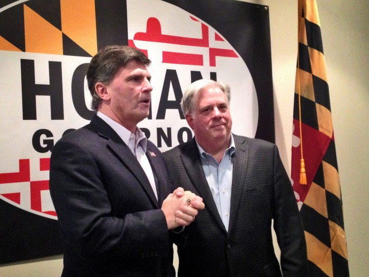 2/21/14: Former Gov. Robert L. Ehrlich Jr. attended a rally for Larry Hogan - his former appointments secretary. Hogan announced his candidacy for Maryland governor near the end of January 2014. (Erin Cox/Baltimore Sun)
