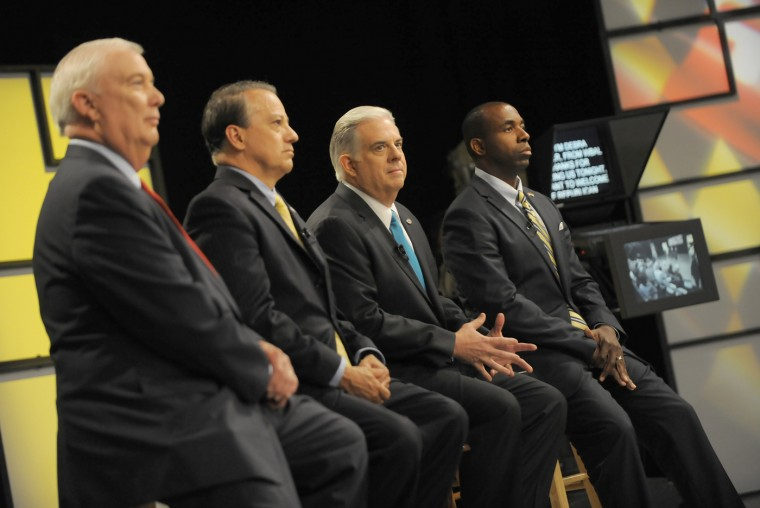 6/2/14: David Craig, Ron George, Larry Hogan and Charles Lollar. Republicans running for Governor of Maryland debate at MPT studios in Owings MIlls. (Lloyd Fox/Baltimore Sun)
