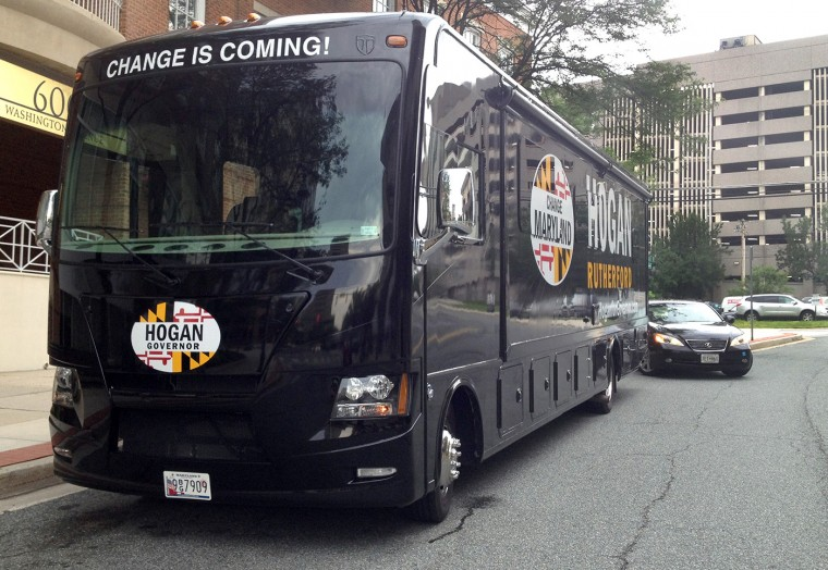 6/19/2014: Larry Hogan's campaign bus. (Erin Cox / baltimore Sun Staff)