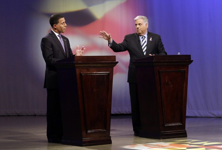 10/18/2014: Maryland Democratic gubernatorial candidate, Lt. Gov. Anthony Brown, left, and Larry Hogan, Republican candidate for governor, hold a debate at Maryland Public Television's studios in Owings Mills, Md., Saturday, Oct. 18, 2014. (AP Photo/Patrick Semansky, Pool)
