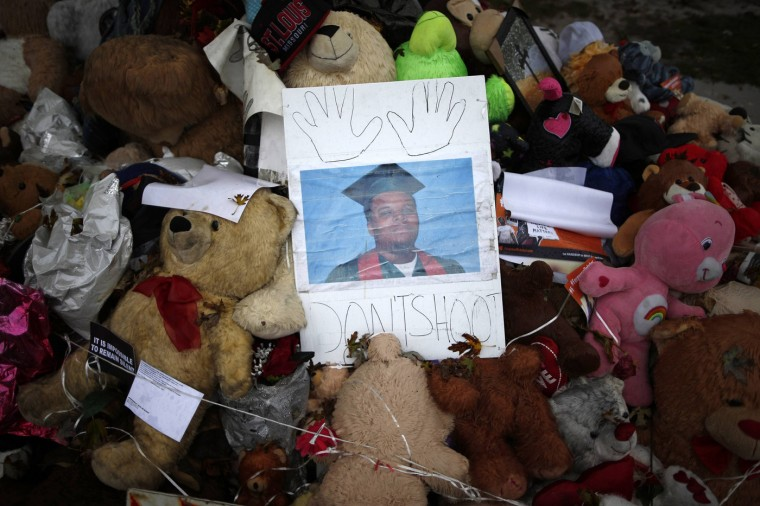 A memorial set up for Michael Brown is seen in Ferguson, Missouri, October 10, 2014. Brown was killed by Ferguson police officer Darren Wilson. Brown was unarmed when he was shot at least six times, and outrage over his death has fuelled weeks of sometimes violent protests. (Jim Young/Reuters)