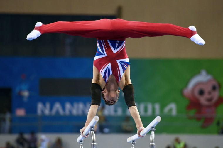 Britain's Max Whitlock performs on the parallel bars during the men's all-around final at the Gymnastics World Championships in Nanning. (GREG BAKER/AFP/Getty Images)