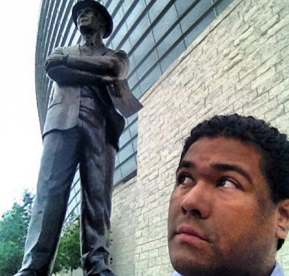 Tom Landry Statue Selfie in Arlington, Texas on June 6, 2014.