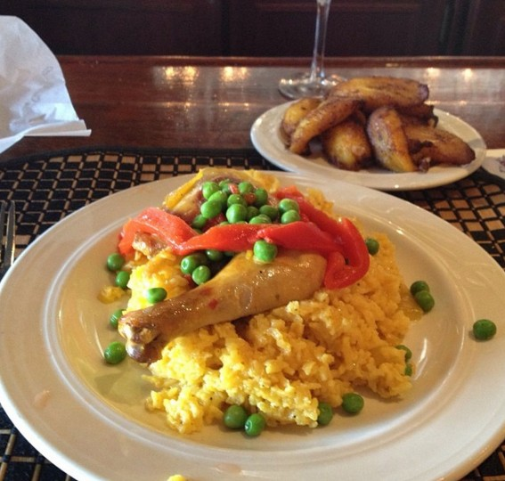 Getting back to Tampa on the off day with some arroz con pollo with plantains at the Columbia Restaurant in Ybor City on May 5, 2014.