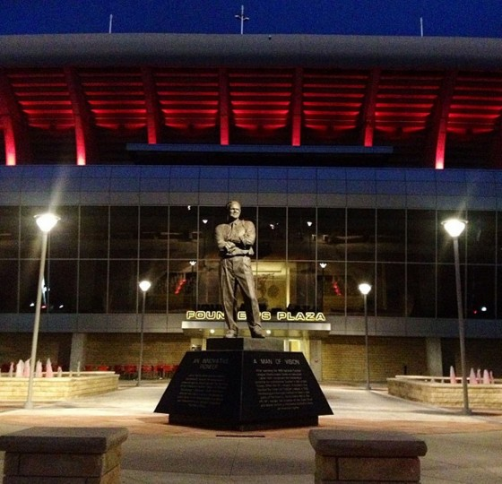 Statue of Lamar Hunt in front of Arrowhead Stadium. Picture taken Oct. 12, 2014.