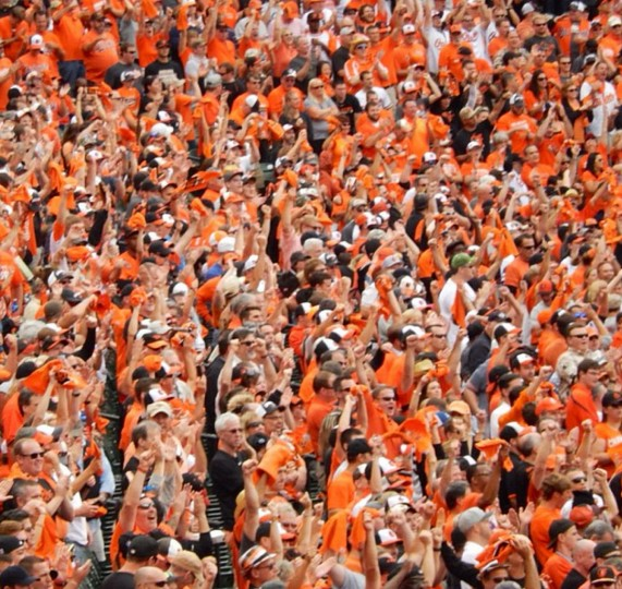 A sea of orange. The ALDS Game 2 crowd at Camden Yards on Oct. 3, 2014.