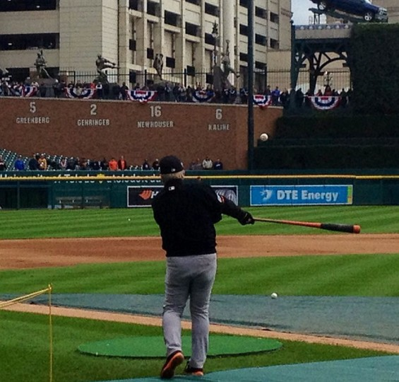 Orioles manager Buck Showalter hitting a ball during batting practice before ALDS Game 3 on Oct. 6, 2014.