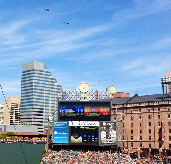 Two U.S. Navy Blue Angels jets fly behind Camden Yards during the Sept. 13, 2014 Orioles-Yankees game.