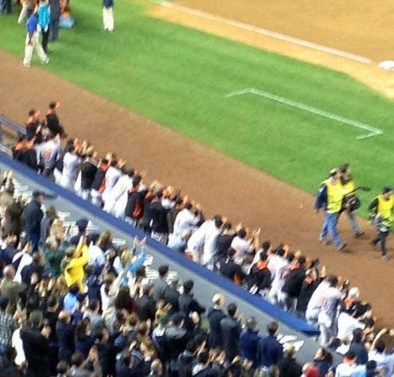 Orioles dugout applauding for Derek Jeter during his final curtain call at Yankee Stadium on Sept. 25, 2014.