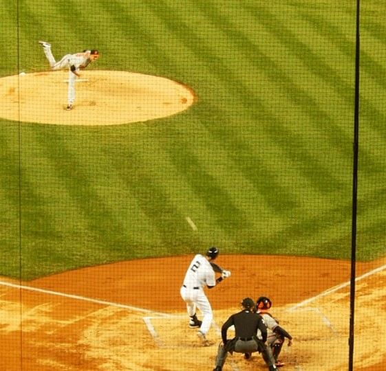 Derek Jeter's first hit in his final home game off Kevin Gausman in the first inning Sept. 25, 2014, an RBI double off the left field wall.