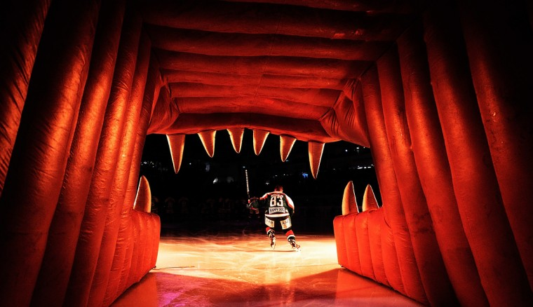 Adrian Grygiel of Augsburger skates onto the ice before the DEL Ice Hockey match between Augsburger Panther and Schwenninger Wild Wings at Curt Frenzel Stadium in Augsburg, Germany. (Adam Pretty/Bongarts/Getty Images)