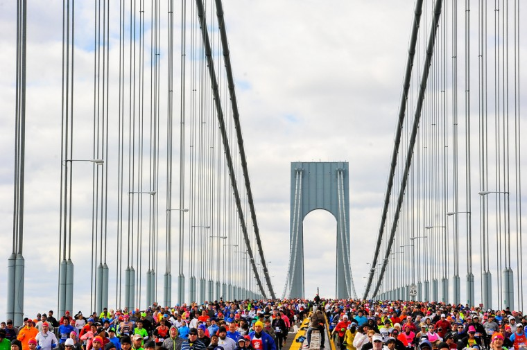 Runners cross the Verrazano-Narrows Bridge at the start of the TCS New York City Marathon in the Brooklyn borough of New York City. (Alex Goodlett/Getty Images)