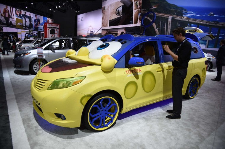 "A ""SpongeBob"" Toyota Sienna is displayed at the Los Angeles Auto Show media preview days, November 19, 2014 in Los Angeles, California. SpongeBob SquarePants is a popular American animated television series and movie property which chronicles the underwater adventures of SpongeBob and his friends. (Robyn Beck/AFP/Getty Images)"
