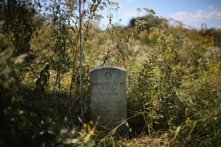 The grave marker of WWII veteran Sangston M. Ross is surrounded by tall weeds in the black section of the Anchor of Hope Cemetery which is slowly eroding away from the riding waters of the Chesapeake Bay. October 8, 2014 in Hoopers Island, Maryland. Donny Willey has volunteered his time to try and save the cemetery from erosion but cannot get a permit from the state of Maryland to erect a seawall. The cemetery is the resting place of more than 150 men, women, and children. Individuals from the War of 1812 to slaves and freed slaves, from the founding family of Hoopers Island to veterans of several wars are buried here. Several islands in the Chesapeake Bay region are slowly eroding away as sea levels are projected to rise several feet over the next century. (Photo by Mark Wilson/Getty Images)