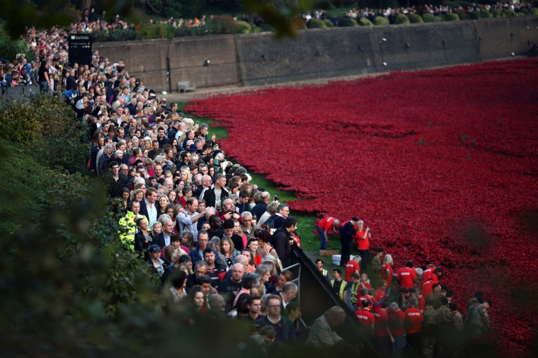 Visitors view the 'Blood Swept Lands and Seas of Red' installation at Tower of London on October 30, 2014 in London, England. The installation by artists Paul Cummins and Tom Piper will eventually consist of 888,246 ceramic poppies - representing each of the commonwealth servicemen and women killed in the first world war. (Photo by Carl Court/Getty Images)