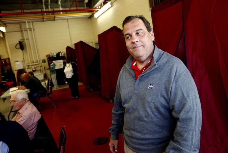 New Jersey Gov. Chris Christie emerges from a voting machine after casting his vote, November 4, 2014 at the Emergency Services Building in Mendham, Twp., New Jersey. All 12 of N.J.'s House seats are up for grabs today. ( Jeff Zelevansky/Getty Images)