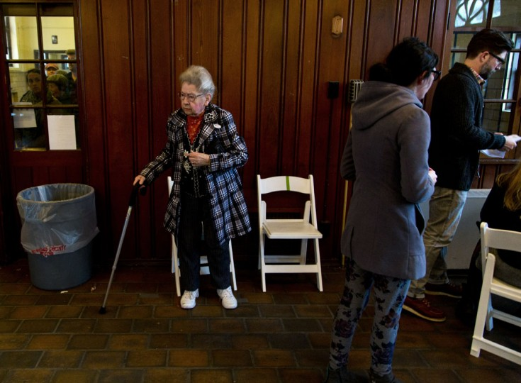 Citizens go to the cast their ballots at the South Shore Park building on election day November 4, 2014 in Milwaukee, Wisconsin. Republican Gov. Scott Walker is running in a tight race against Democratic opponent Mary Burke. (Darren Hauck/Getty Images)