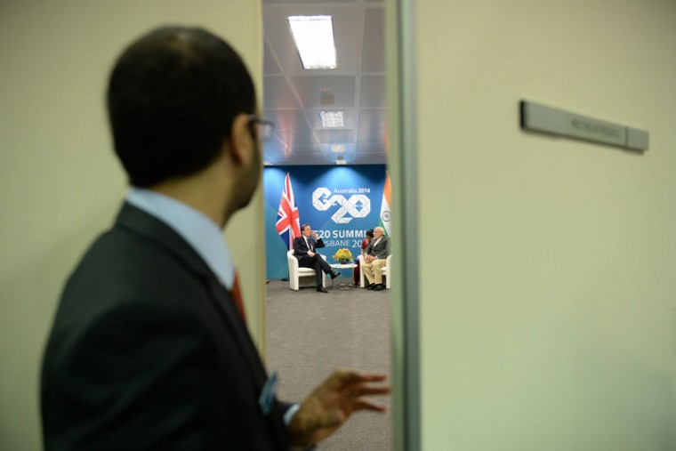 The door closes on a bilateral meeting between British Prime Minister David Cameron and Indian Prime Minister Narendra Modi at the Brisbane Convention and Exhibitions Centre (BCEC) on November 14, 2014 in Brisbane Australia. World leaders have gathered in Brisbane for the annual G20 Summit and are expected to discuss economic growth, free trade and climate change as well as pressing issues including the situation in Ukraine and the Ebola crisis. (Lukas Coch-Pool/Getty Images)