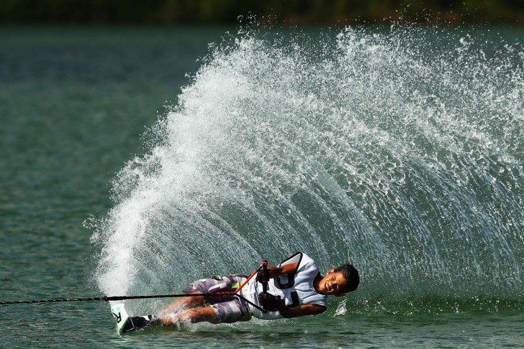 Thierry Grappe of Thailand carves during the Open Men's Waterski Slalom during the 2014 Asian Beach Games at Bangneow Dam on November 19, 2014 in Phuket, Thailand. (Cameron Spencer/Getty Images)