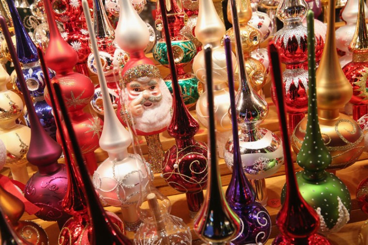 A less-than-tasteful Santa looks out from among glass Christmas decorations at the Christmas market at Alexanderplatz on the market's opening day on November 24, 2014 in Berlin, Germany. Christmas markets will open across Germany this week and stay open through the end of December to sell Gluehwein, Christmas decorations, sweets and other delights in an annual tradition. (Sean Gallup/Getty Images)