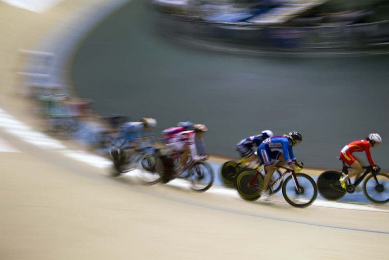 Cyclists compete during the UCI Cycling track World Cup Women's Omnium points race in Guadalajara, Mexico, on November 09, 2014.(Hector Guerrero/AFP/Getty Images)