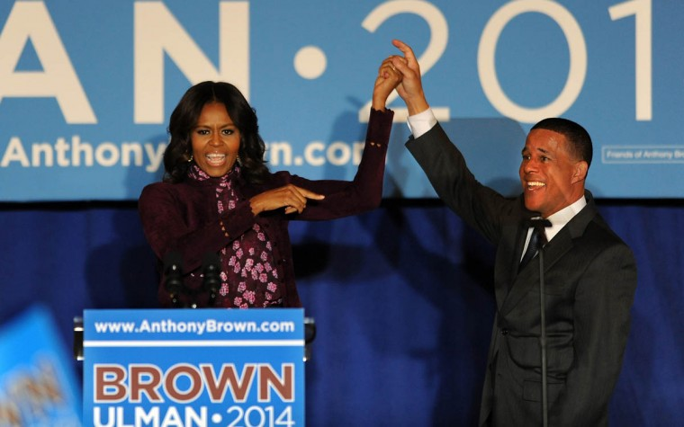 First Lady Michelle Obama campaigns for Lt. Gov. Anthony G. Brown at the War Memorial on the day before the election. (Algerina Perna, Baltimore Sun)