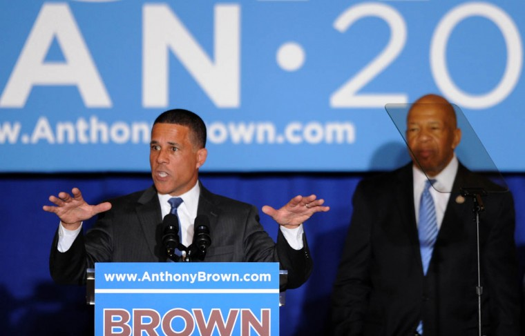 Lt. Gov. Anthony G. Brown speaks to the crowd at the War Memorial on the day before the election. At right is Rep. Elijah Cummings. (Algerina Perna, Baltimore Sun)