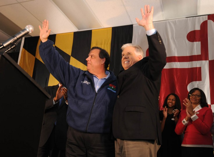 At Patapsco Arena, New Jersey Governor Chris Christie, left, and Larry Hogan, the GOP nominee for governor, wave to the crowd. (Algerina Perna, Baltimore Sun)