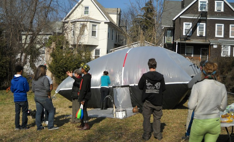 2/24/13: A concert in a bubble by The Human Exeprience Project was put on by 901 Arts in Waverly. The bubble was created by Nola Elsewhere. (John-John Williams/Baltimore Sun)