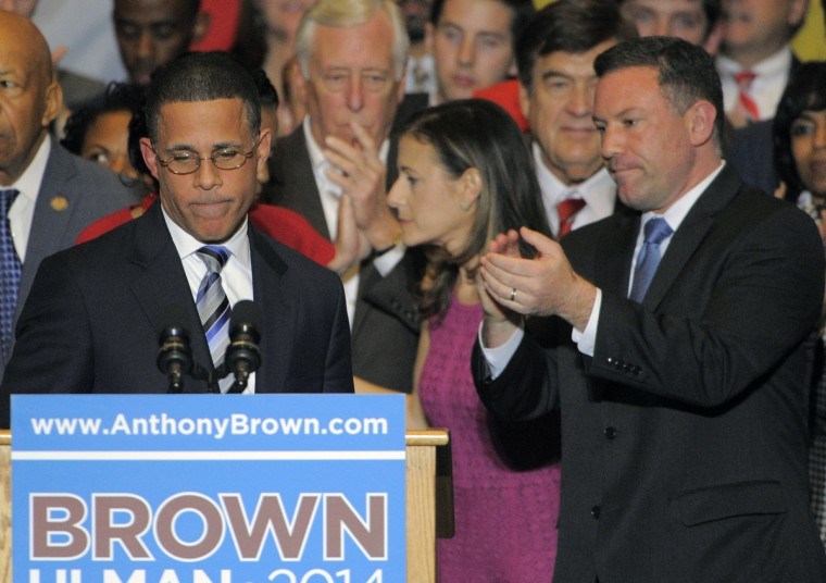 Gubernatorial candidate Anthony Brown concedes to Republican victor Larry Hogan at the Brown/Ulman election night party at the University of Maryland Wednesday. (Karl Merton Ferron / Baltimore Sun)
