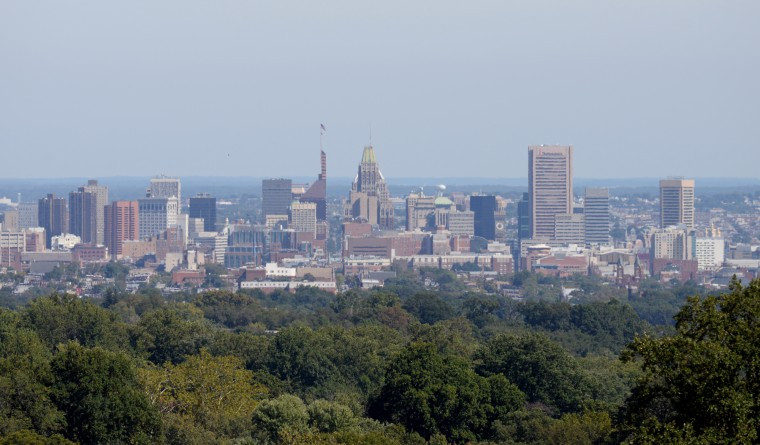 A shot of Baltimore city taken from the cupola at Mount de Sales. (Jon Sham/BSMG)