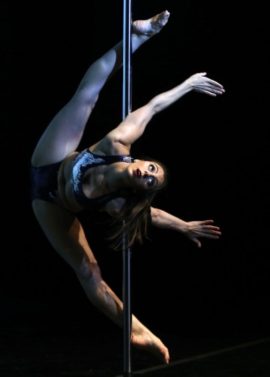 Alessandra Rancan of Brazil competes in the South American Pole Dance Championship in Buenos Aires November 24, 2014. Participants from throughout South America will be vying for the top spots in the two-day competition, with the winners qualifying for the 2015 World Pole Dance Championship in Hong Kong. (REUTERS/Enrique Marcarian)