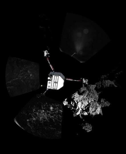 A panoramic image of the surface of Comet 67P/ChuryumovñGerasimenko captured by Rosettaís lander Philae's CIVA-P imaging system, with a sketch of the lander in the configuration the lander team currently believe it is in superimposed on top, is seen in this European Space Agency (ESA) handout image released November 13, 2014. The European probe that landed on the comet in a first for space exploration is resting on the surface despite technical problems, pictures beamed half a billion kilometres (300 million miles) back to Earth showed on Thursday.(ESA/Rosetta/Philae/CIVA/Handout via Reuters)