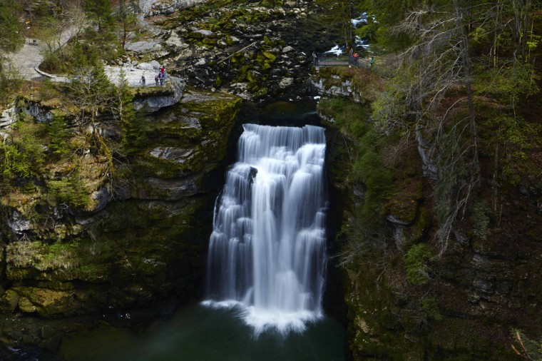 The Saut du Doubs waterfall is seen on the border between Switzerland (L) and France in Villers-le-Lac April 23, 2014.