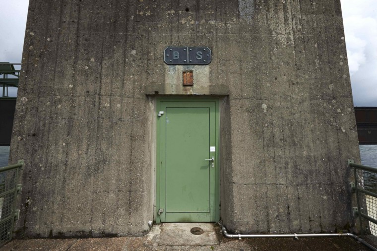 A door is seen on the RADAG (Rheinkraftwerk Albbruck-Dogern AG) power dam on the Rhein river between Switzerland (R) and Germany in Leibstadt May 1, 2014.