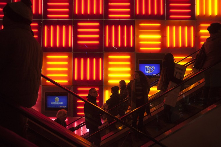 Shoppers ride the elevators of the Toys R store in Times Square in New York November 27, 2014. Toys R Us opened on Thanksgiving evening at 5pm, ahead of many other Black Friday retailers. (Carlo Allegri/Reuters)
