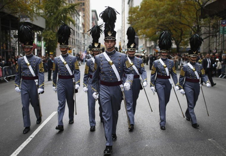 Cadets from the United States Military Academy at West Point, New York march during the Veterans Day parade on 5th Avenue in New York November 11, 2014. (Mike Segar/Reuters photo)