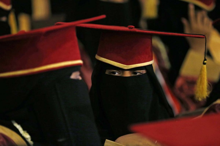 Top high school students attend an annual award ceremony organized by Yemen's Education Ministry in Sanaa November 24, 2014. Forty-seven highest-scoring graduates of high schools nationwide were honoured by the government on Monday, and awarded with medals and cash prizes. (Khaled Abdullah/Reuters)