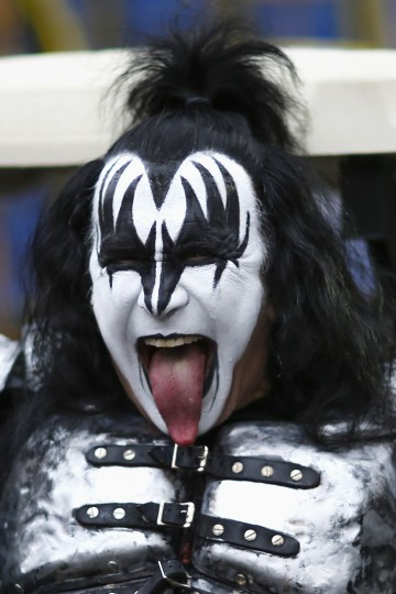 Gene Simmons of KISS reacts as he attends the 88th Macy's Thanksgiving Day Parade in New York. (REUTERS/Eduardo Munoz)